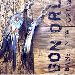 Upcycled feather earrings